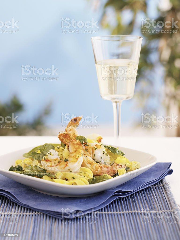 Shrimp Fettuccini royalty-free stock photo