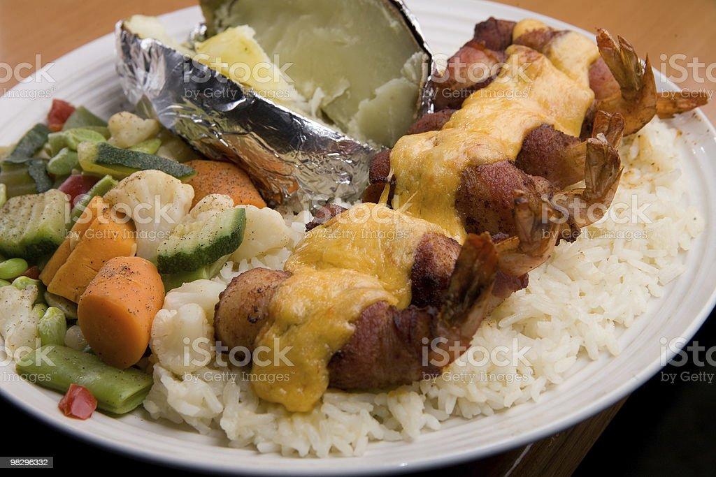 새우요 피에스타 on 쌀 석식 royalty-free 스톡 사진