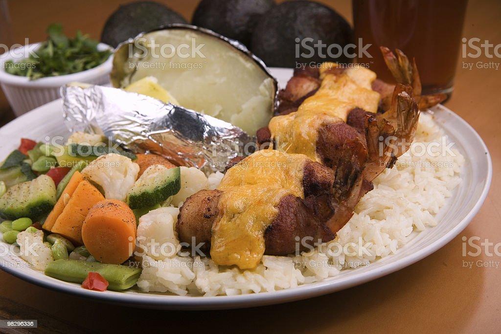 shrimp fiesta on rice royalty-free stock photo