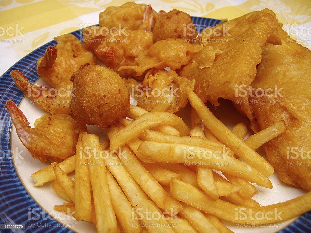 Shrimp, Fish & Chips - Seafood stock photo