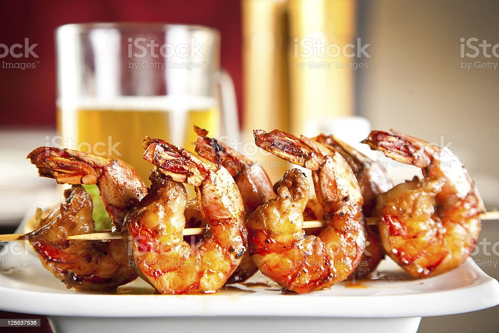 Shrimp grilled with beer stock photo