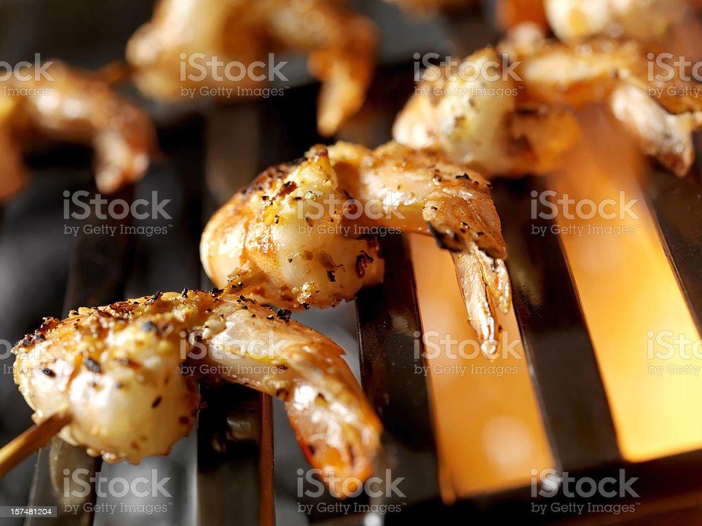 BBQ Shrimp Kabobs royalty-free stock photo