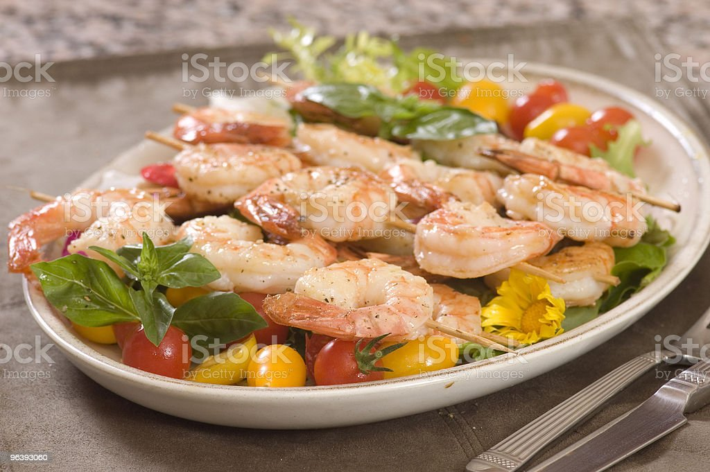 Shrimp on a skewer royalty-free stock photo
