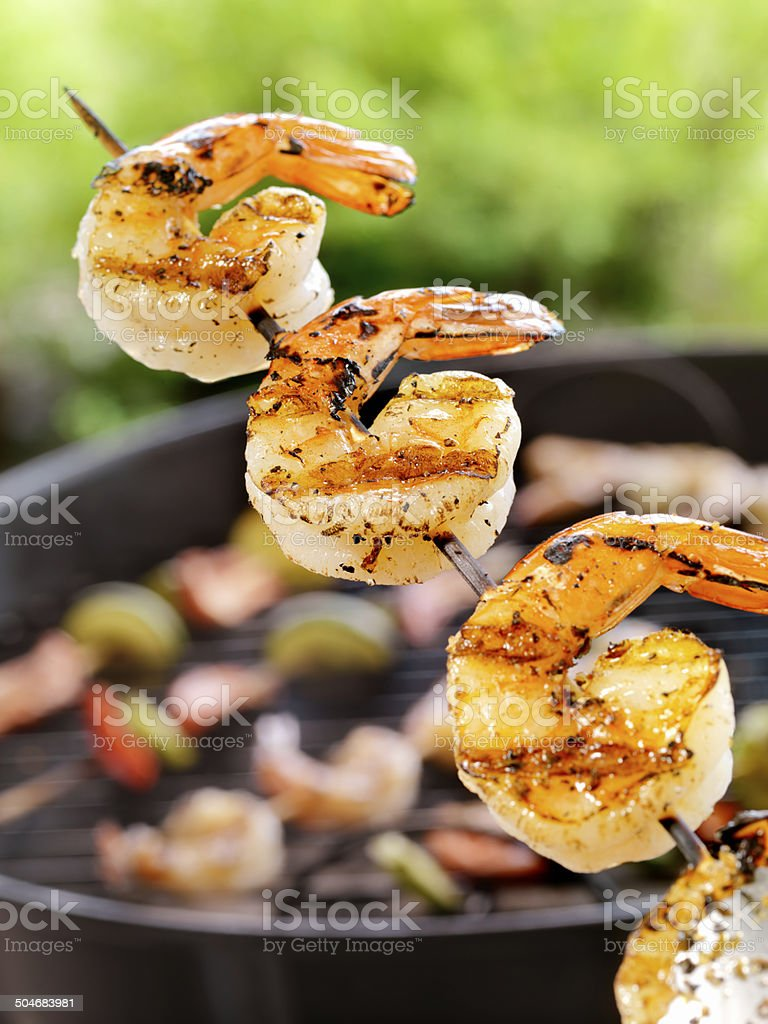 Shrimp on the barbie stock photo