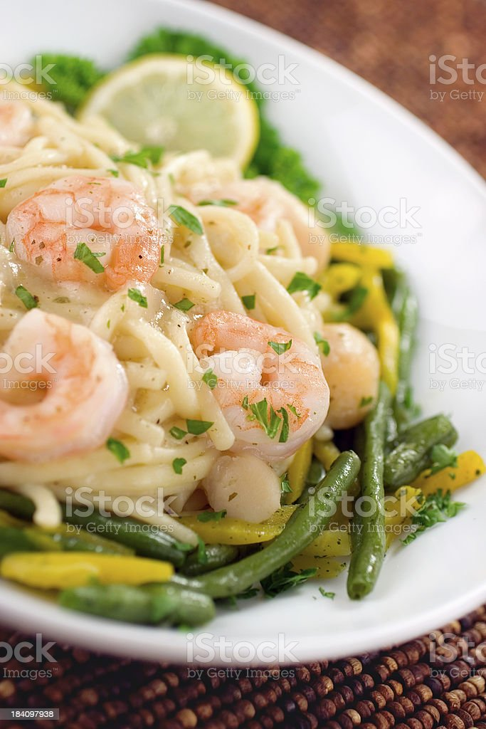 Shrimp & Pasta royalty-free stock photo
