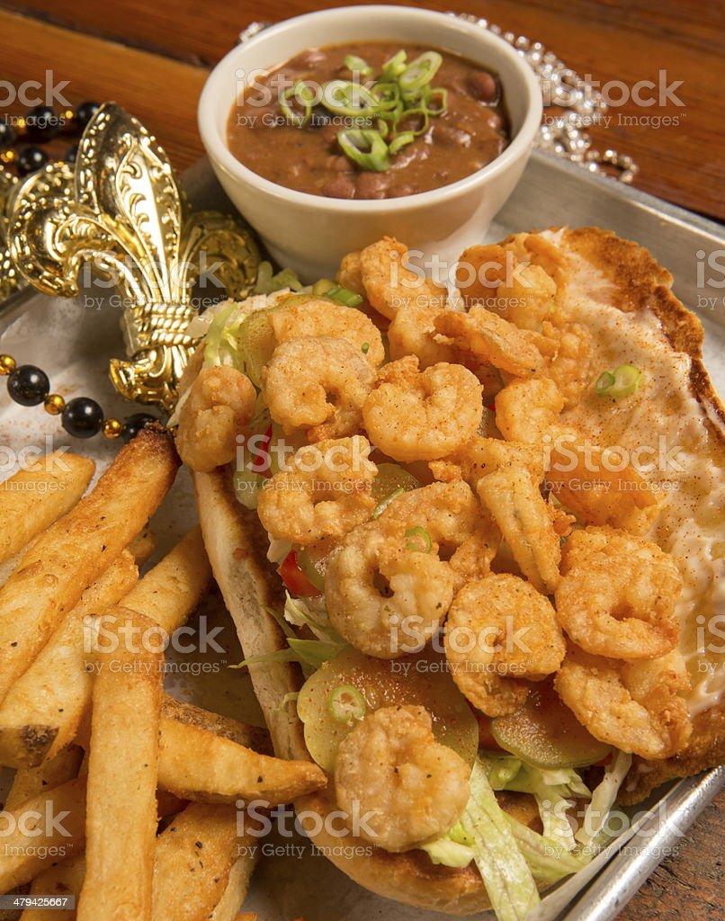 Shrimp PoBoy on Fat Tuesday royalty-free stock photo