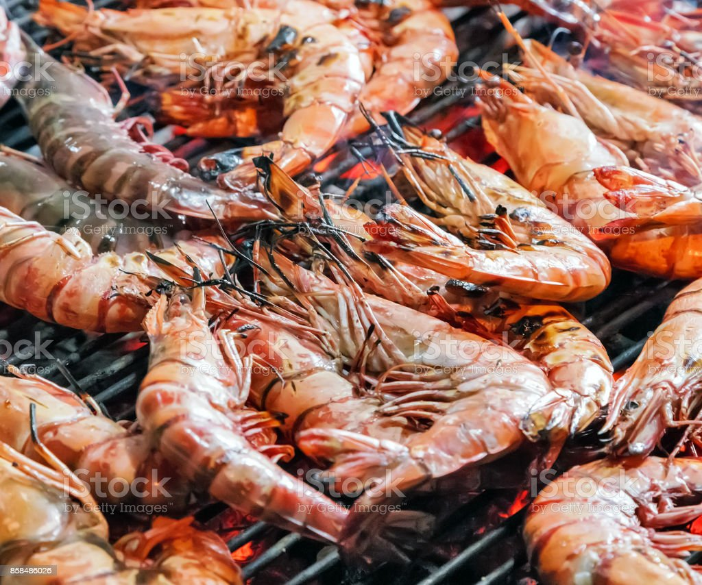 shrimp prawns grilled stock photo