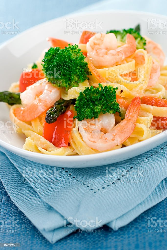 Shrimp Primavera stock photo