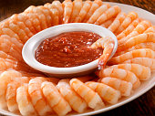 Shrimp Ring with Cocktail Sauce -Photographed on Hasselblad H3D2-39mb Camera