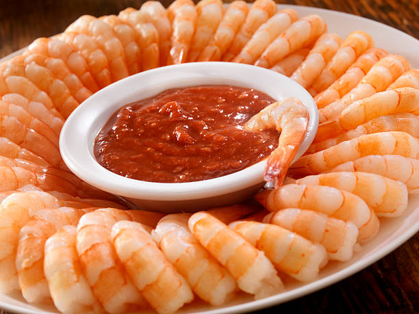 Shrimp Ring with Cocktail Sauce stock photo