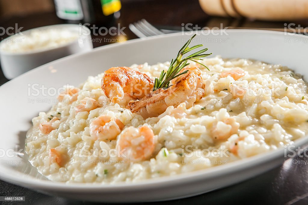 Shrimp risotto stock photo