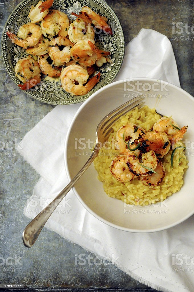 Shrimp saffron risotto. royalty-free stock photo