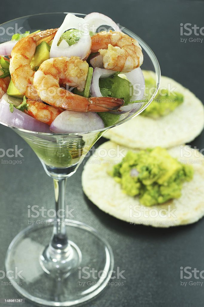 shrimp salad and red onions stock photo