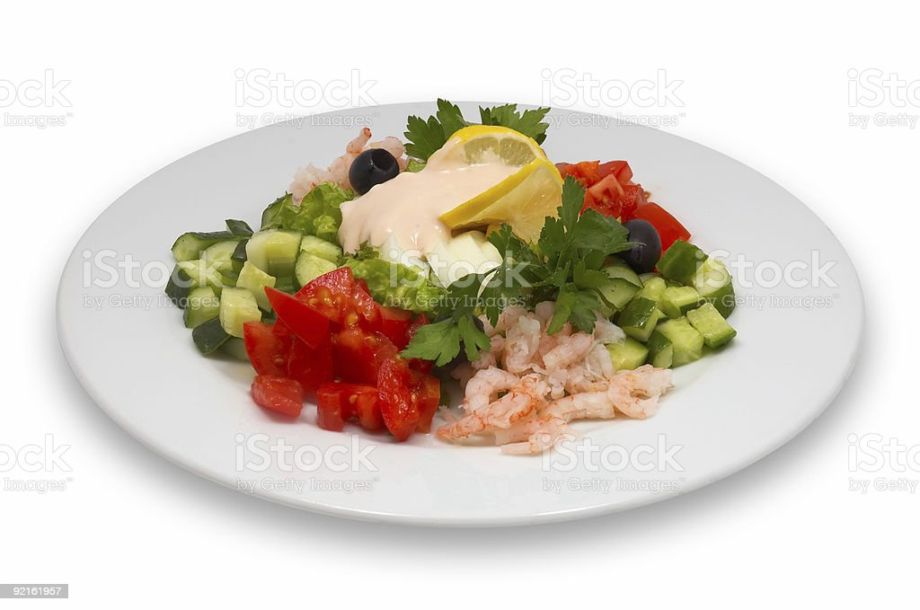 shrimp salad with vegetables royalty-free stock photo