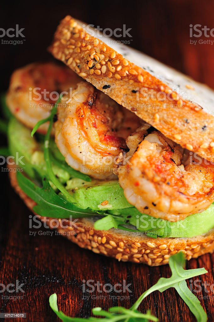 Shrimp Sandwich Close-Up royalty-free stock photo