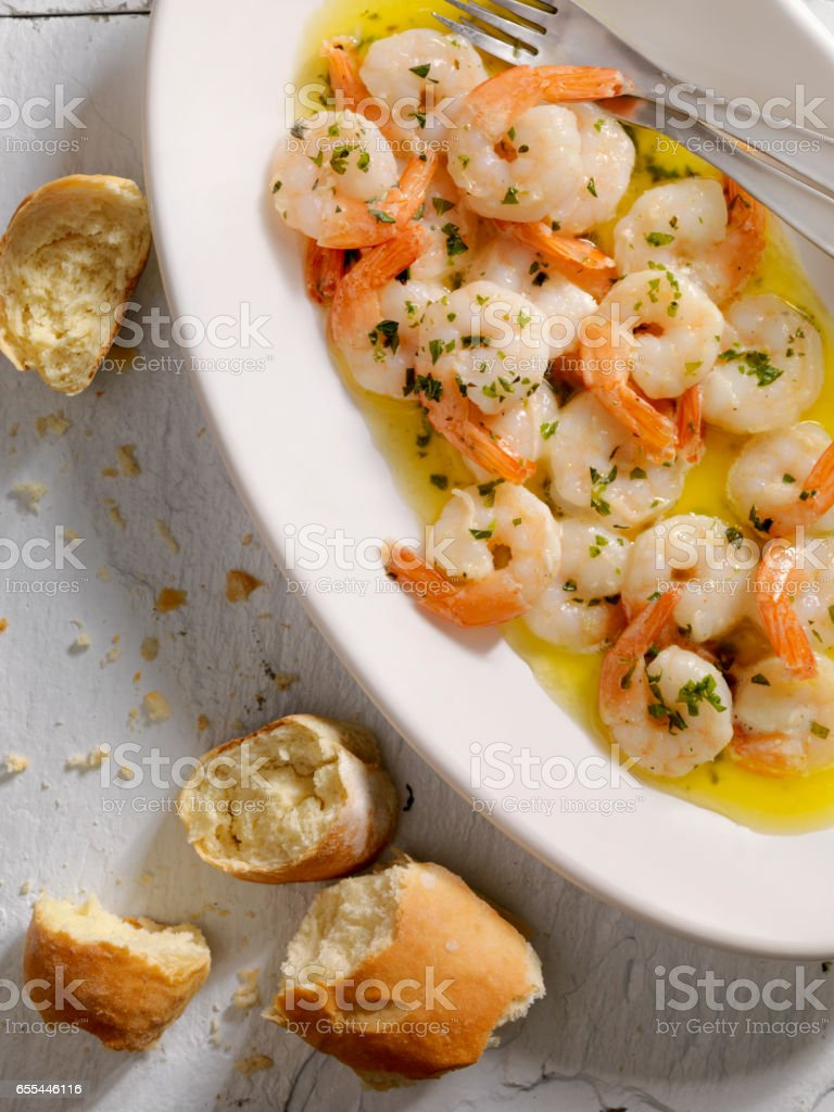 Shrimp Scampi with Fresh Bread stock photo