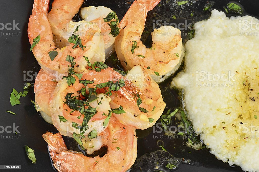 Shrimp Scampi with Grits stock photo