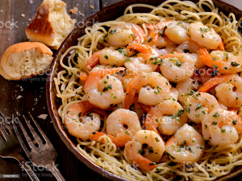 Shrimp Scampi with Pasta stock photo