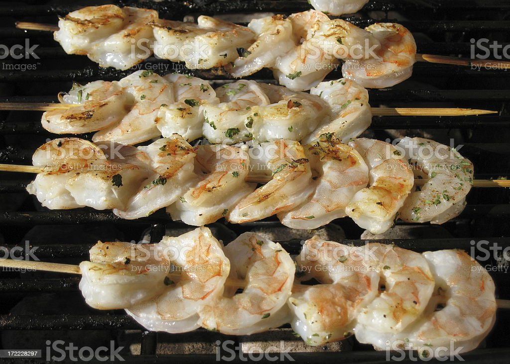 Shrimp Skewers On The Grill royalty-free stock photo