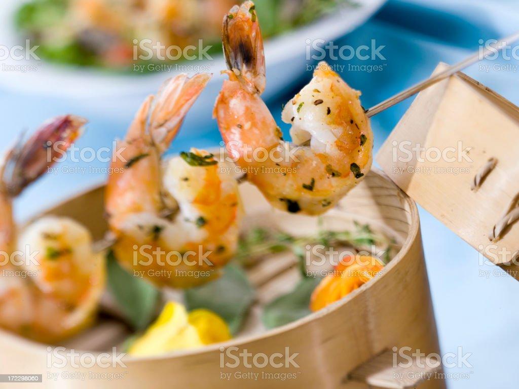 shrimp skewers trio (horizontal) royalty-free stock photo