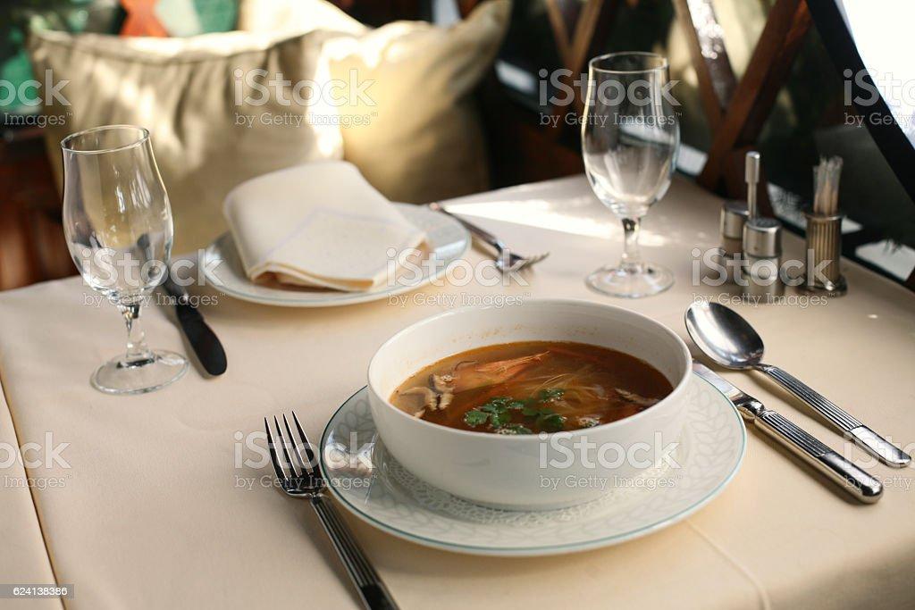 Shrimp soup stock photo
