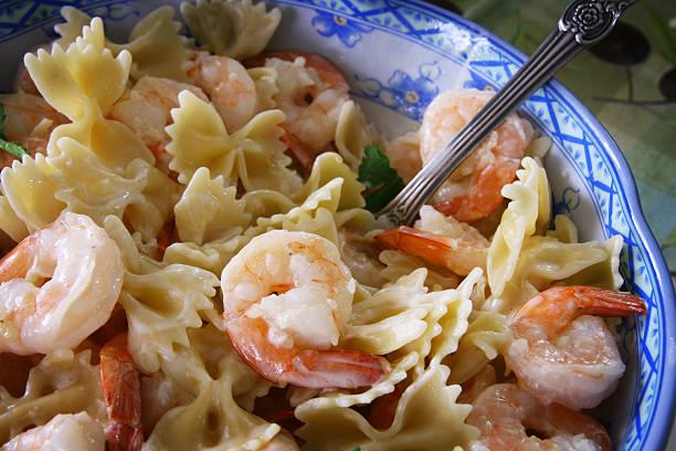 Shrimp sour cream pasta stock photo