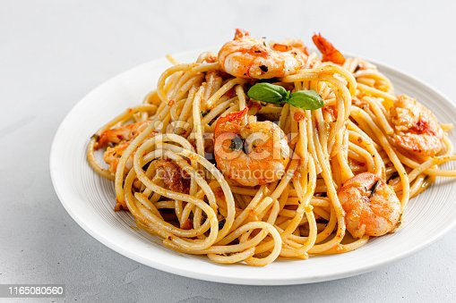 Shrimp Spaghetti Pasta on a White Plate and on White Background. Close-Up Photo of Shrimp / Prawn Pasta, Italian Food Photography.