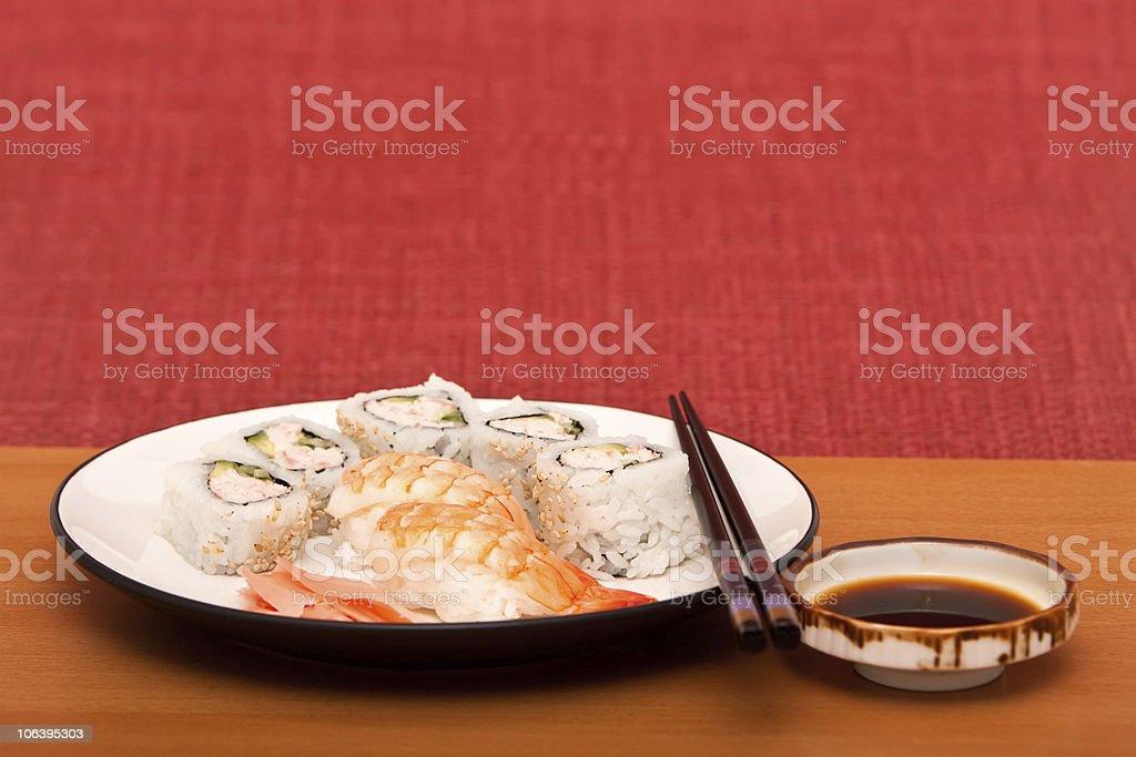Shrimp sushi and California rolls royalty-free stock photo
