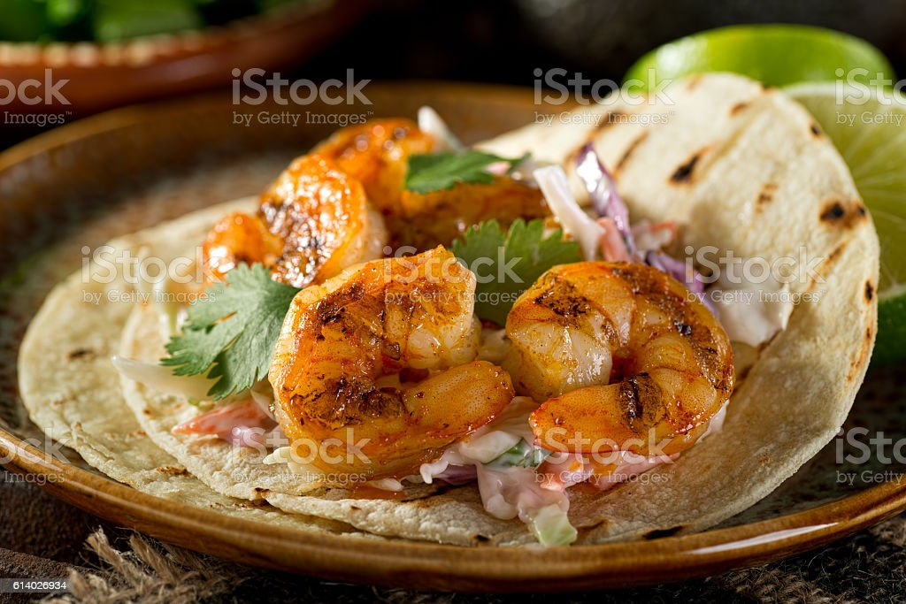 Shrimp Tacos stock photo