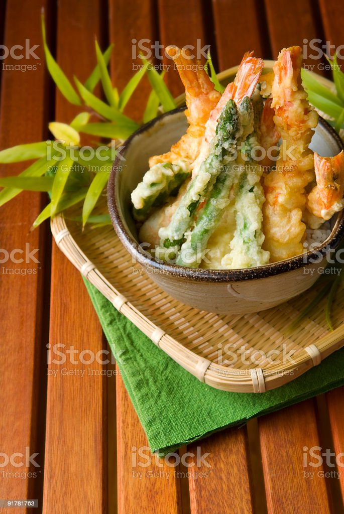 Shrimp tempura in a bowl, on a plate royalty-free stock photo