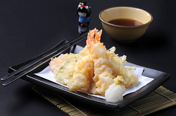 camarão tempura comida japonesa estilo - tempura imagens e fotografias de stock