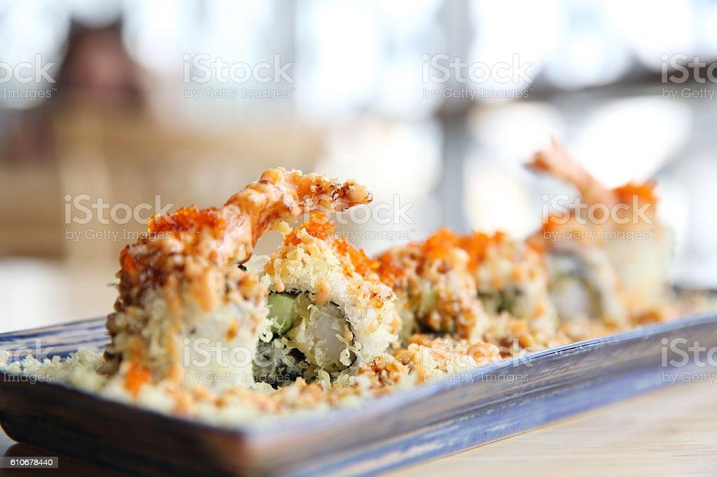 Shrimp tempura Maki Sushi Japanese food stock photo