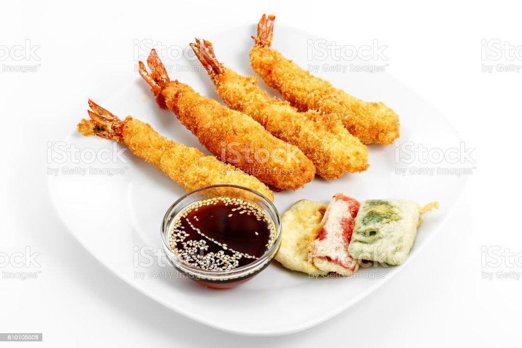 Shrimp tempura, soy sauce with sesame seeds stock photo