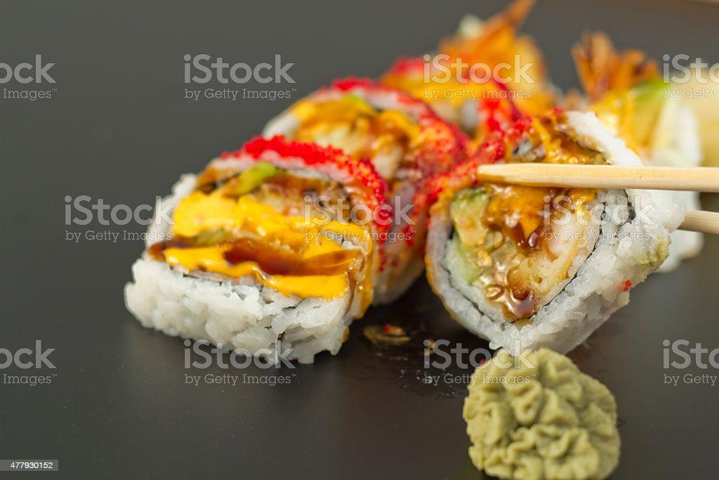 Shrimp Tempura Sushi Roll stock photo