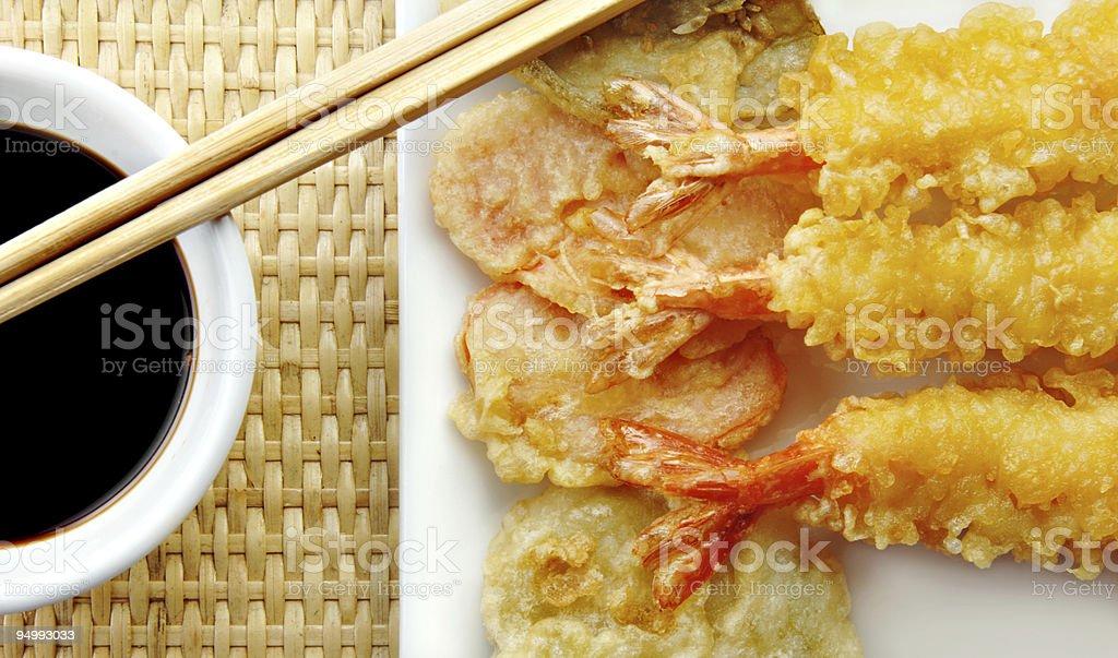 Shrimp Tempura with Chopsticks and Soy Sauce stock photo