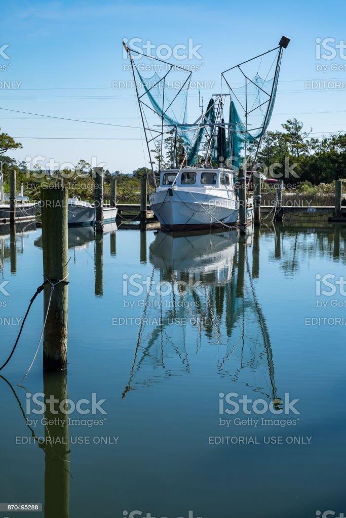 Shrimp Trawler, Harkers Island, NC stock photo