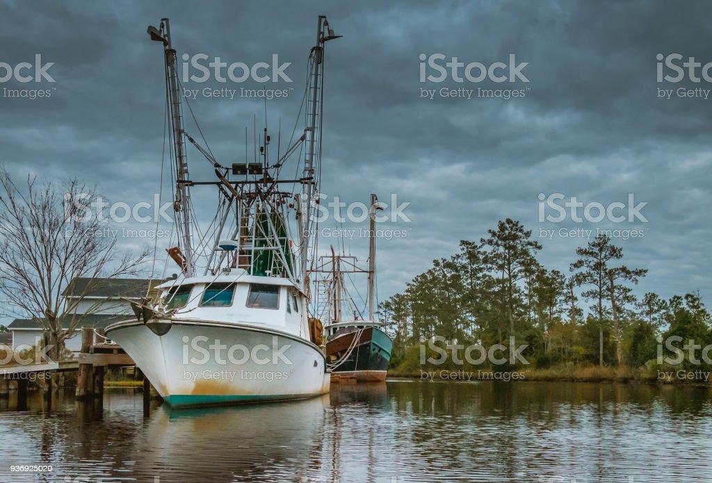 Shrimp Trawlers in Harbor stock photo