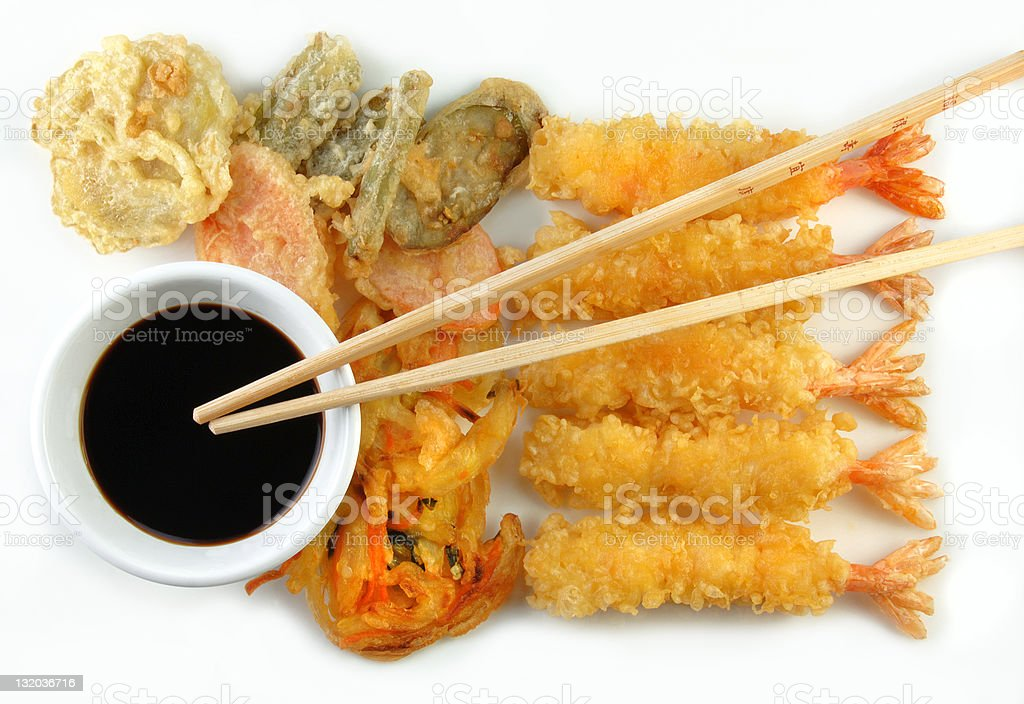 Shrimp Vegetable Tempura and Chopsticks stock photo