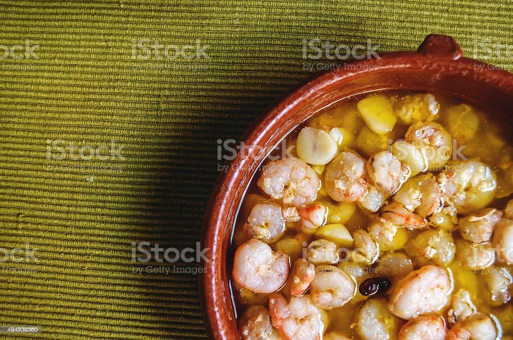 shrimp with garlic stock photo