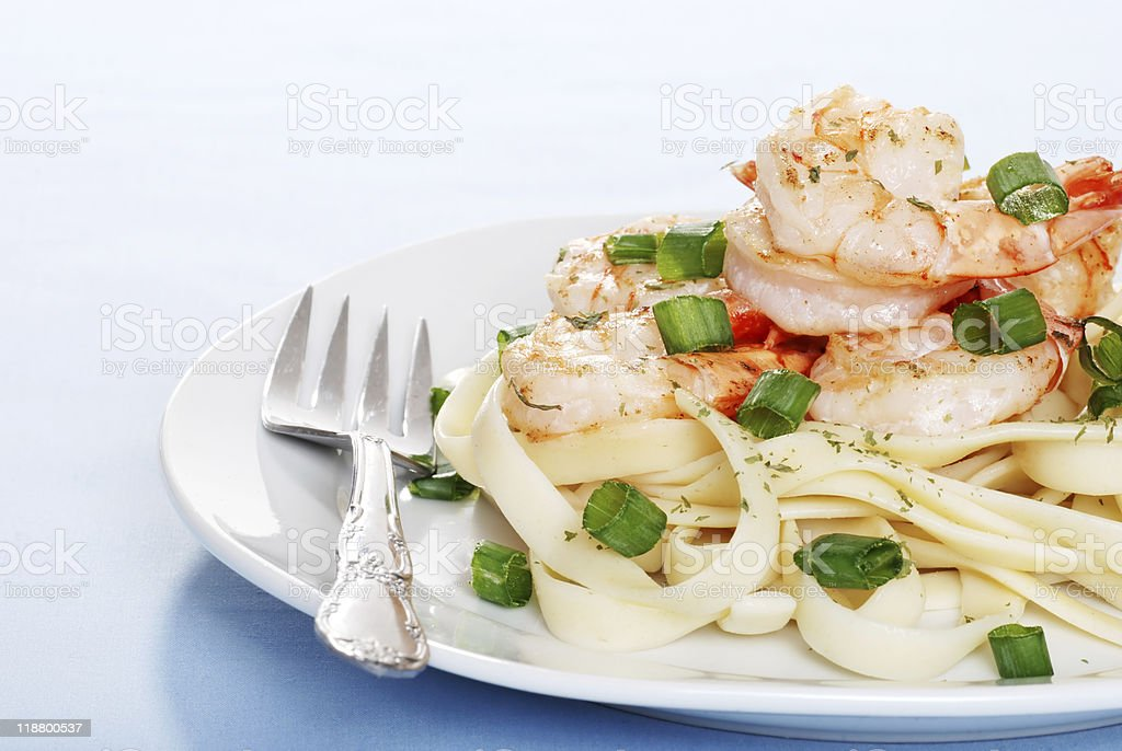 Shrimp With Noodles And Fork royalty-free stock photo