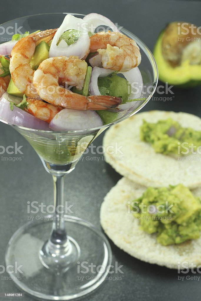 shrimp with red onion and avocado stock photo