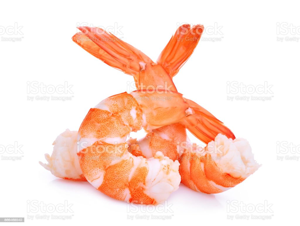 shrimps isolated on white background stock photo