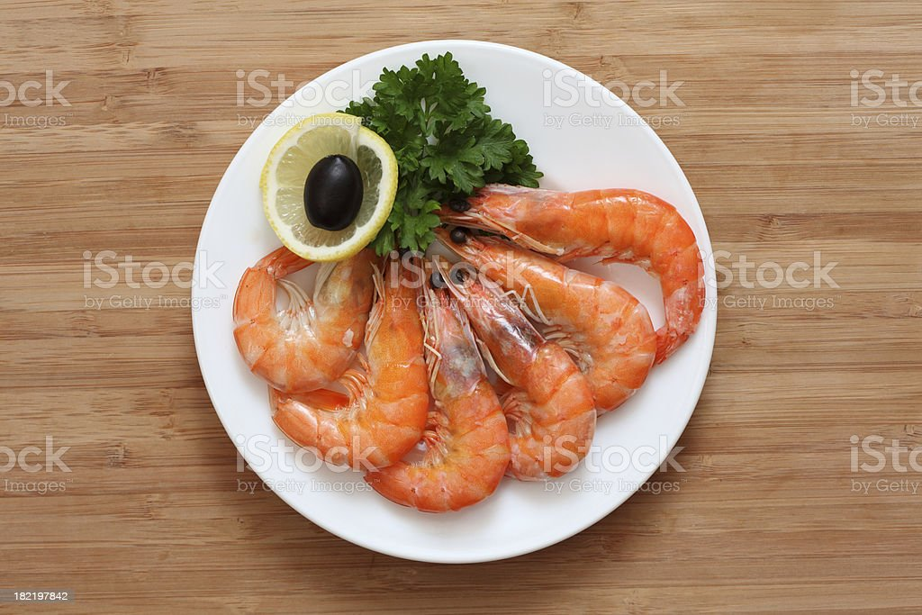 Shrimps on a plate royalty-free stock photo