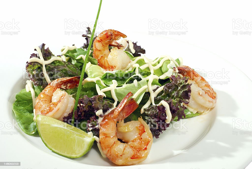 shrimps on salad isolated royalty-free stock photo