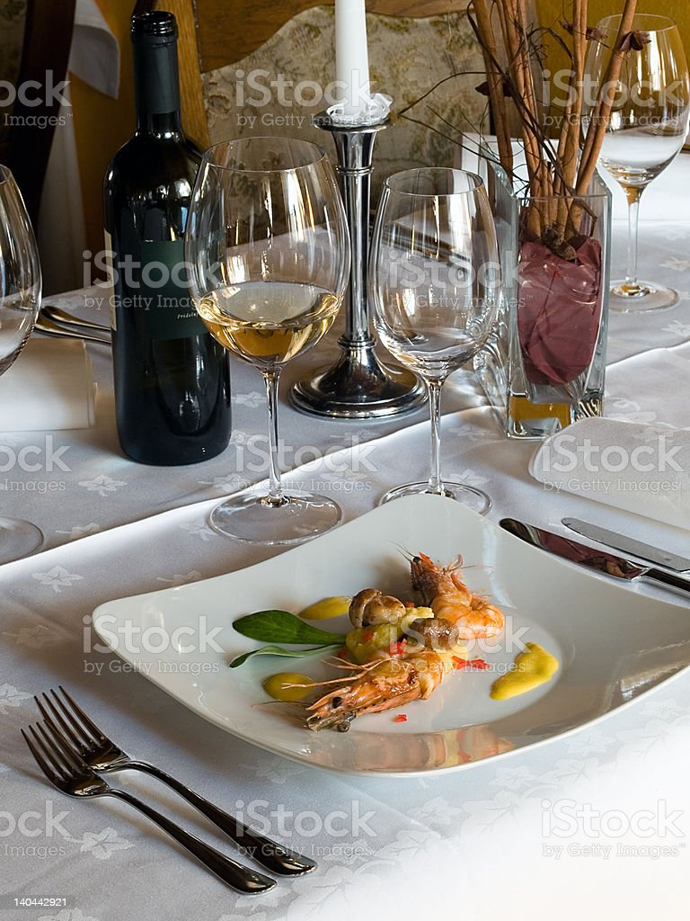 shrimps served royalty-free stock photo