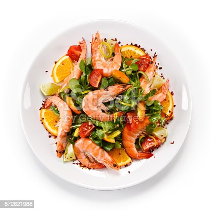 Shrimps with rice noodles and vegetables