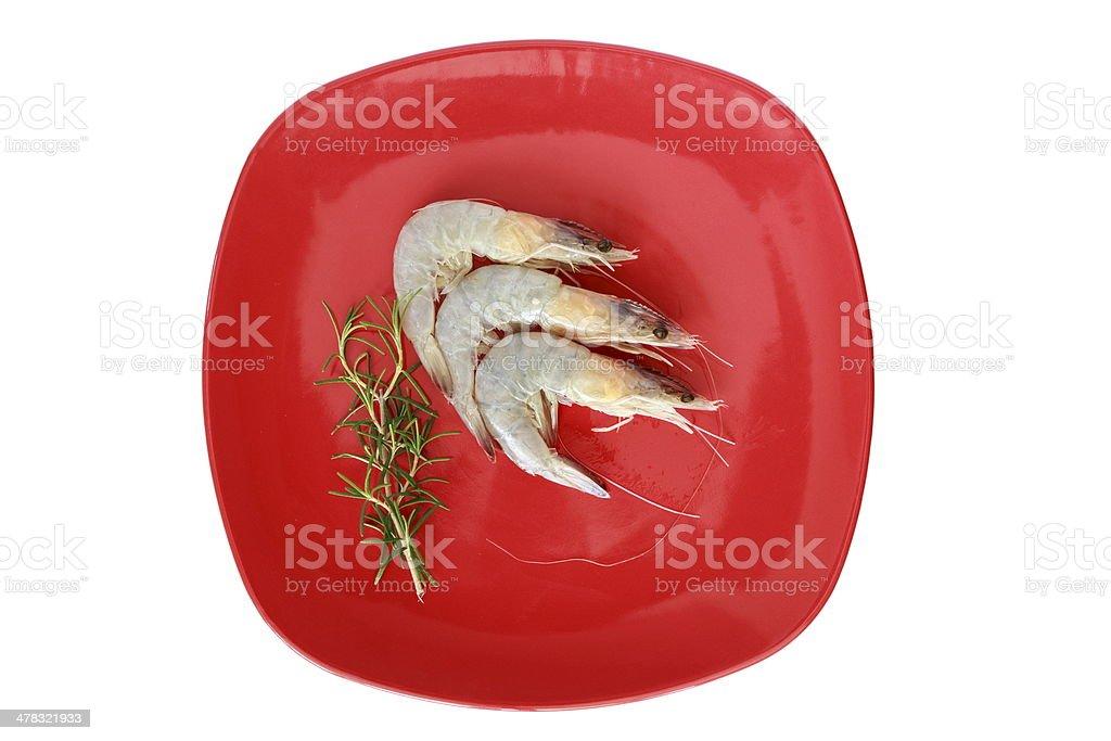 Shrimps with rosemary royalty-free stock photo