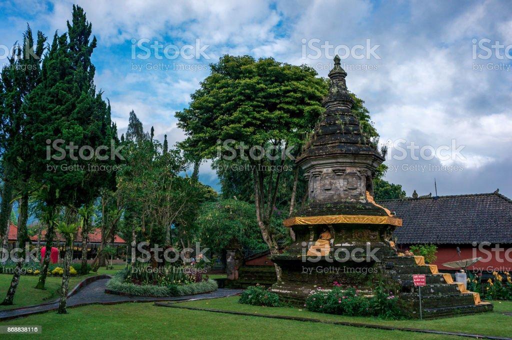 Shrine in the park of the Pura Ulun Danu temple stock photo