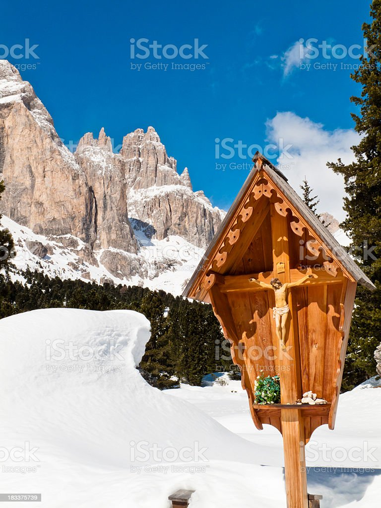 Shrine On The Dolomites stock photo