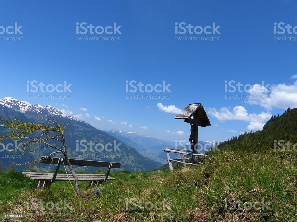 Shrine on the mountain trail by a rest area stock photo